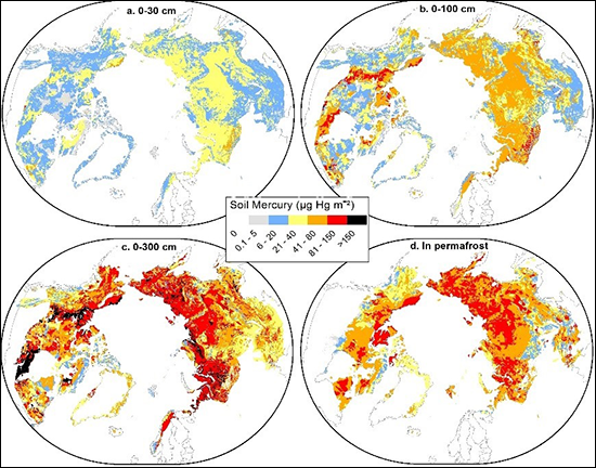 Maps of mercury concentrations in Northern hemisphere permafrost