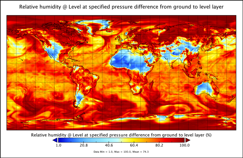 Worldwide relative humidity from NOAA Global Forecast System