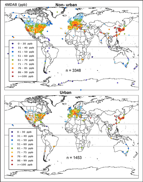 Present-day surface-level ozone concentrations around the world