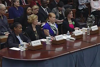 The four witnesses who testified before the House Subcommittee on Research and Technology on 27 February: Rhonda Davis, Kathryn Clancy, Kristina Larsen, Chris McEntee.