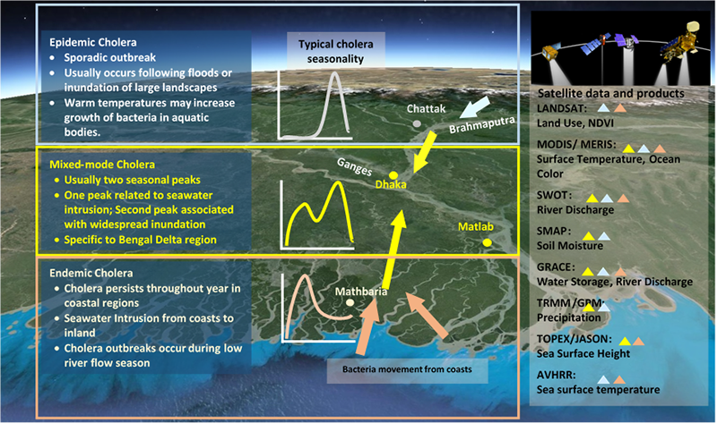 NASA satellites provide Earth observation data for assimilation into a cholera early-warning framework for Bangladesh.