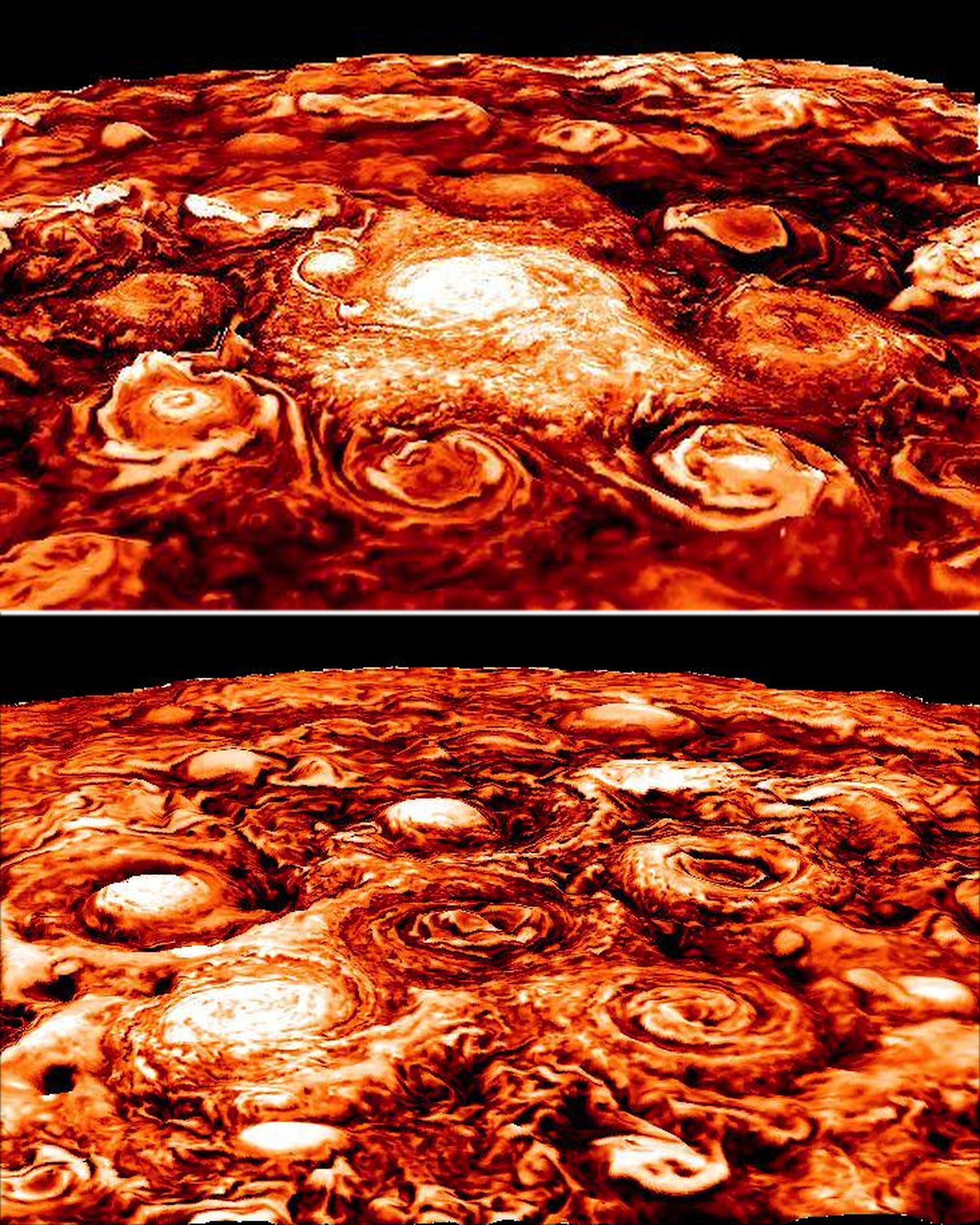 3-D views of Jupiter's northern and southern polar storms
