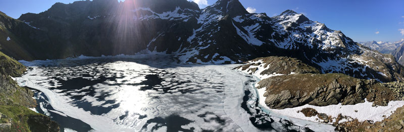 Lago Nero, shown here shortly after its ice cover broke up in spring, is a monitored alpine lake on the southern slopes of the Swiss Alps. Climate warming is rapidly changing winter conditions for alpine lakes and their vulnerable ecosystems
