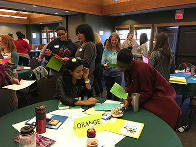 Students from the Colorado/Wyoming Front Range region play a networking bingo game at the PROGRESS fall 2016 workshop.