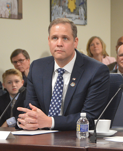 Jim Bridenstine, the new NASA administrator, at a meeting with the agency's leadership following his swearing-in ceremony.