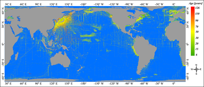 Global map of some publicly available in situ Secchi depth data.