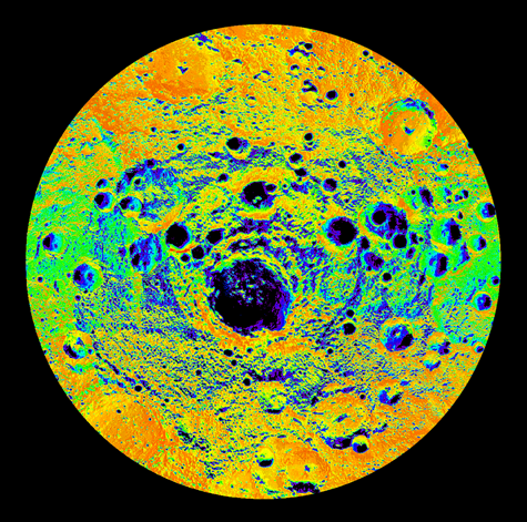 Illumination map of Mercury's south pole to 80°S, colored by percent sunlit during a Mercury solar day.