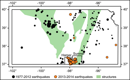Nearly all of the recent earthquakes in Kansas occurred in a region with a large increase in high-volume fluid injection.