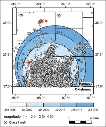 The Kansas Geological Survey recorded nearly 7,000 earthquakes in four counties from January 2015 through June 2017.