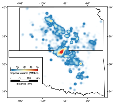 Fluid injection volumes for disposal wells in Kansas and Oklahoma in 2015.
