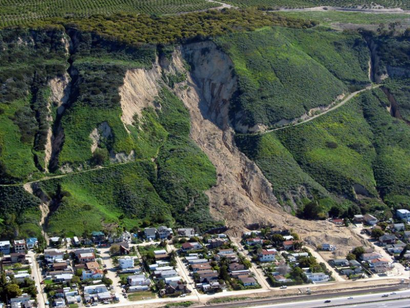 A new model that predicts the potential for rain to trigger landslides in near-real time. 2005 landslide in Conchita, Calif., killed 10 people. Credit: Mark Reid, USGS