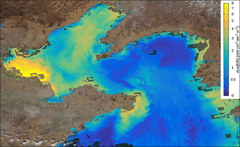Color-coded satellite data map of turbid waters in the Bohai Sea and Yellow Sea in February 2017