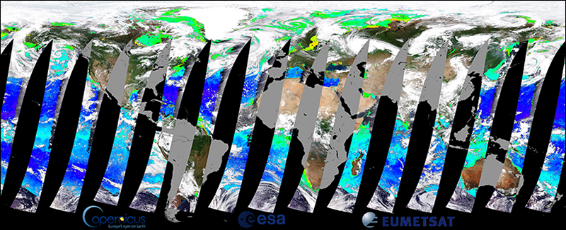 OCView composite showing land mask base layer, true-color composite image, and chlorophyll a concentrations for 6 July 2017