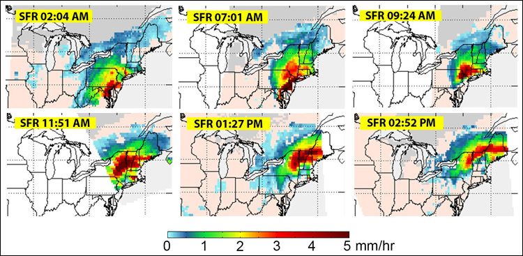 SFR time series showing the evolution of the 14 March 2017 nor'easter.