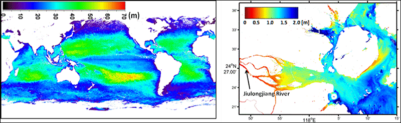 Global- to fine-scale Secchi depth data derived from satellite measurements.