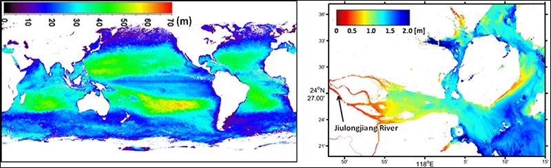 Global- to fine-scale Secchi depth data derived from satellite measurements.