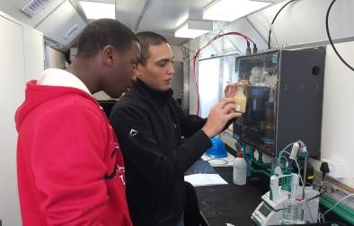 A student (left) is trained on how to analyze dissolved oxygen as part of the Agulhas System Climate Array.