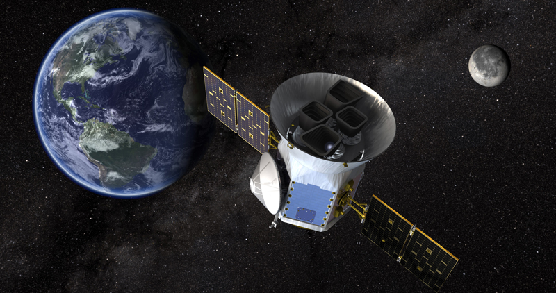 Artist's conception of TESS with the Earth and Moon in the background.