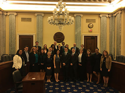 Participants in AGU's Voices for Science policy track visit Capitol Hill.