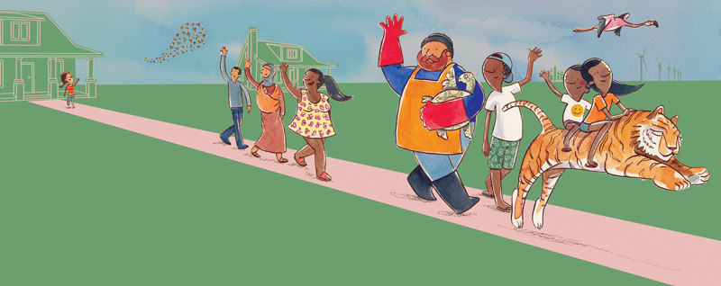 Characters from the children's book The Tantrum That Saved the World represent some of the people and creatures affected by climate change.
