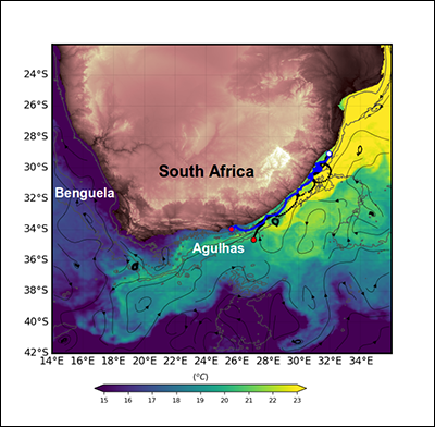 Paths of the two autonomous vehicles deployed during GINA in 2017, overlaid on the warm Agulhas Current waters.
