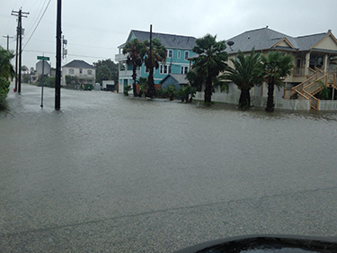 Flooding in Galveston caused by intense rainfall combined with a storm surge from Hurricane Harvey.