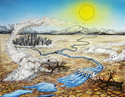 Interacting conditions can worsen water scarcity during a drought.