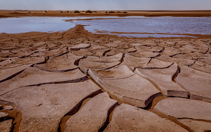 Flooded area in Iran's Lut Desert, known as one of the hottest and driest places on Earth.