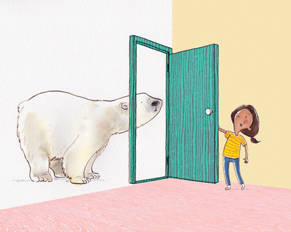 In the children's book The Tantrum That Saved the World, a polar bear is the first character arrive at the protagonist's door to ask for help.