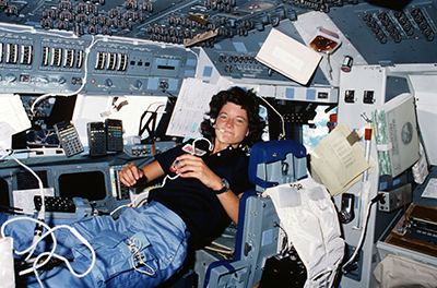 Astronaut Sally Ride aboard the Challenger space shuttle
