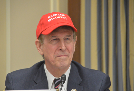 """U.S. Rep. Don Beyer sporting a red baseball cap reading """"Keep the EPA Great."""""""