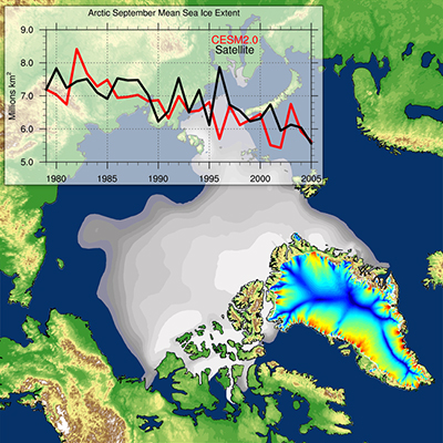 A screenshot from a CESM2 simulation of the Arctic climate system