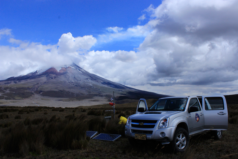 Instituto Geofisico researchers maintain a monitoring station at Cotopaxi volcano in central Ecuador.