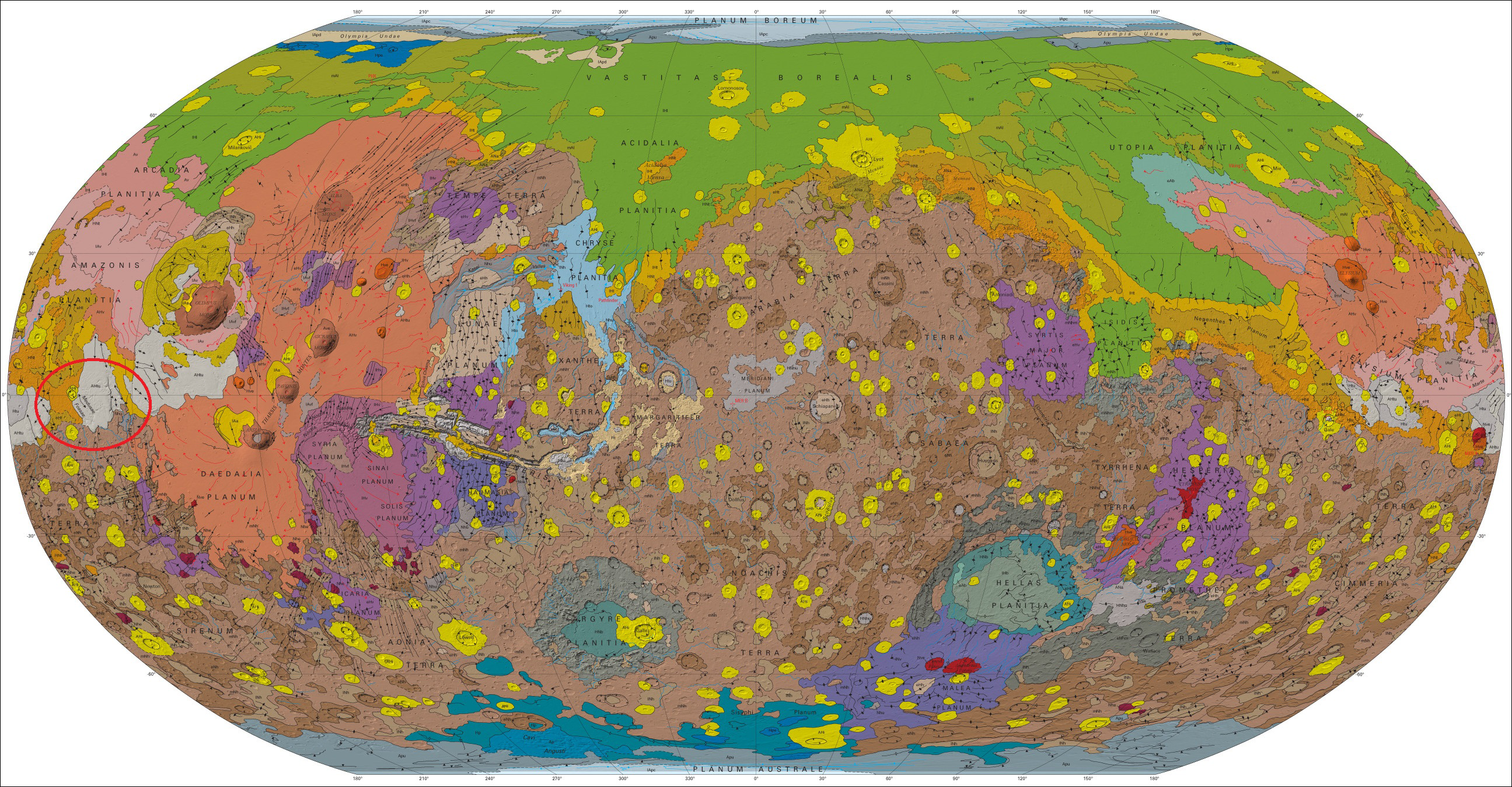 Global geographic map of Mars