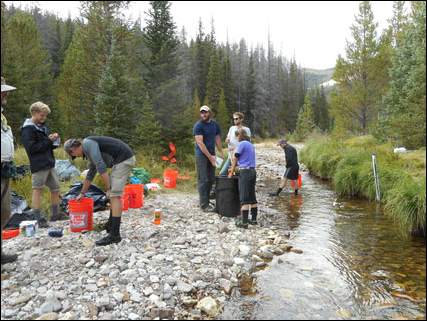 Student volunteers dissolve salt in river water during a conductivity tracer test, Rocky Mountain National Park.