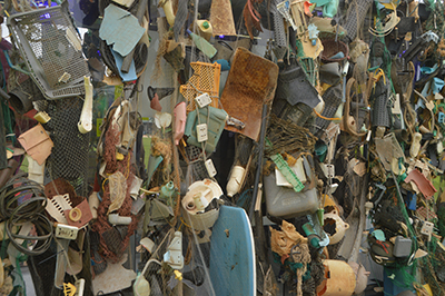 Plastic trash removed from the ocean is on display as part of the Ocean Plastics Lab traveling exhibit.