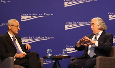 Ernest Moniz (right) speaks about climate science research and threats to funding with John Podesta.