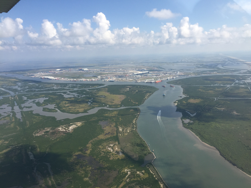 Port Fourchon in the lower Mississippi River Delta, the largest offshore-servicing oil and gas port in the Gulf of Mexico.