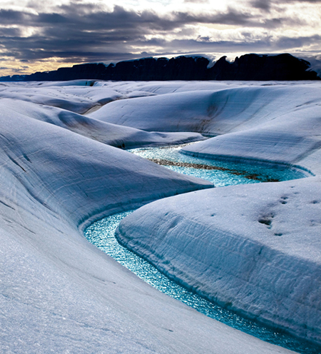 The Blue River on Petermann glacier in Greenland