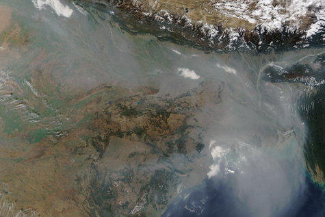 Satellite image showing haze over the Indo-Gangetic Plain in January 2016.