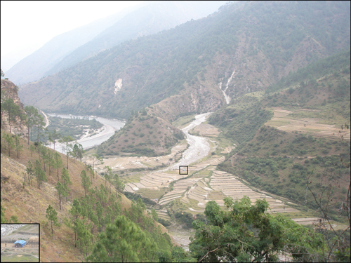 The landscape in eastern Bhutan, south of Trashigang, typically features incised valleys, steep slopes, and terraces.
