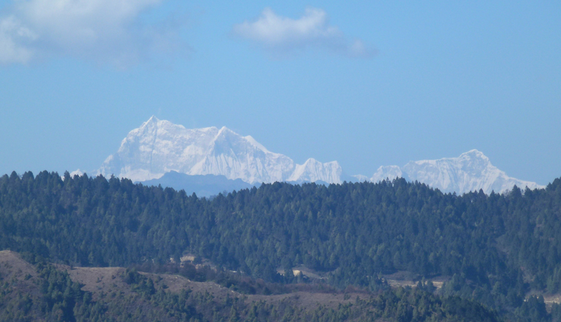 Gangkhar Puensum, a mountain in north central Bhutan, is clearly visible from the main road between Ura and Sengor.