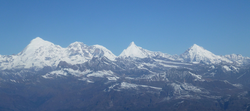 The main Himalayan peaks in northwest Bhutan are, from left to right, Chomolhari, Jichu Drake, and Tserim Kang.