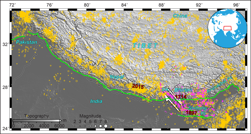 Topographic map of the 2,500-kilometer Himalayan arc and surrounding region, with formerly and newly cataloged seismicity.