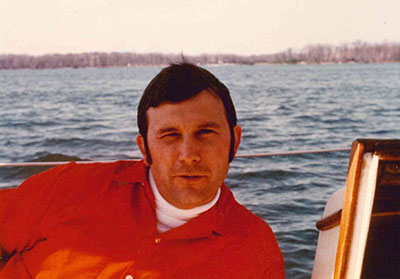 A picture of Fred Spilhaus sailing off Cape Cod.