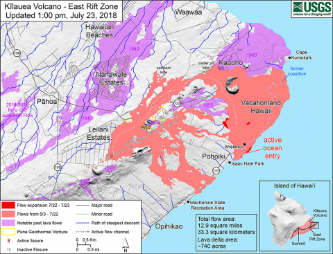 A USGS map from 23 July shows the extent of lava flows since May 3 (in pink), as well as new flows (in red).