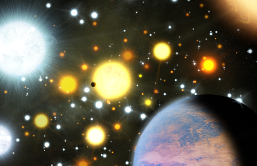Two exoplanets transiting stars in a dense star cluster