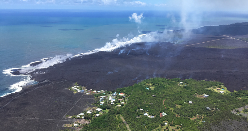 Lava covers the Kapoho Beach Lots subdivision in this photo from 6 June.