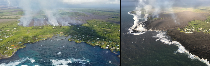 (left) Lava advancing on Kapoho Bay on 3 June. (right) By 5 June, lava had completely filled Kapoho Bay.