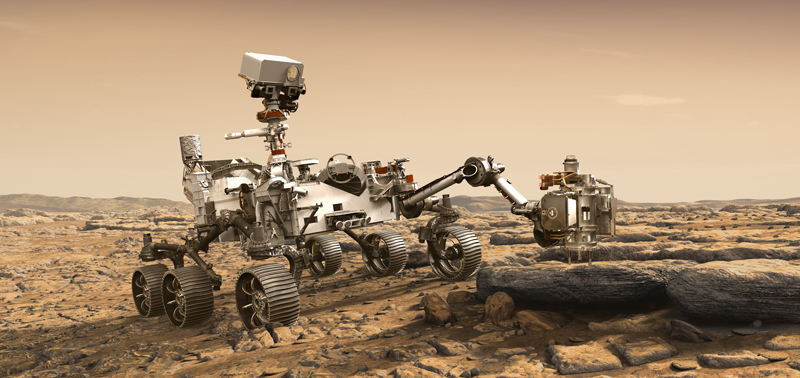 The Mars 2020 rover exploring the Red Planet